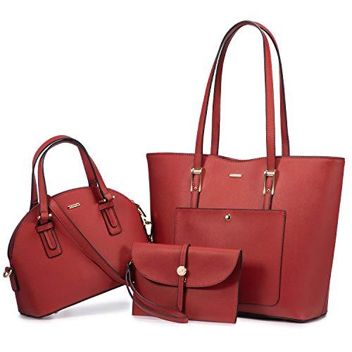 LOVEVOOK Handtasche Damen Tasche Leder Shopper Damen Groß Taschen Gross Schultertasche Handtaschen Set Schultasche Mädchen Teenager Schuhe Tote Bag Bags Umhängetasche, Rot