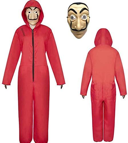 Xinqin 2 Pcs Kit de Disfraz de Rojo, Traje de Cosplay para Carnaval Navidad Halloween Ropa y Máscara (S)