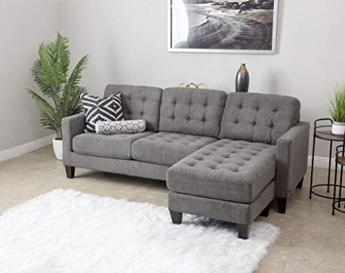 Abbyson Living Fabric Upholstered Reversible Chaise Lounge Sectional Sofa, Grey