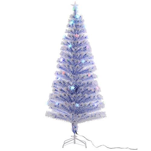 Homcom, albero di Natale artificiale in fibra ottica, decorazione stagionale con 26 luci LED pre-illuminate, facile da riporre, 1,8 m, bianco e blu