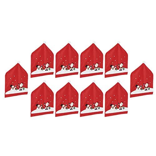 Bediffer Funda para silla, 10 piezas de decoración para el hogar, patrones navideños de dibujos animados para decoración del comedor del hogar