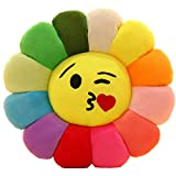 Emoji Chair Seat Cushion,Smile Flower Shaped Throw Pillow Sunflower Pad Soft Toys Sofa Floor Cushions for Girls Reading Bed Room Decoration-b Diameter:35cm(14inch)