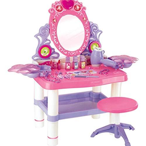 NUOBESTY 1 Set Commode Table Playset Simulation Coloré Princesse Vanité Table Chaise Miroir Jouet avec Musique Légère Jouet Éducatif Précoce pour Les Filles sans Batterie