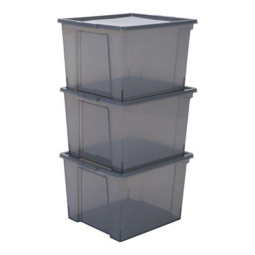 IRIS 130626, 3er-Set Aufbewahrungsboxen / Kisten mit Deckel / Stapelboxen 'Useful Storage Box', USB-M, Kunststoff, transparentes Grau, 42 x 36 x 26,5 cm