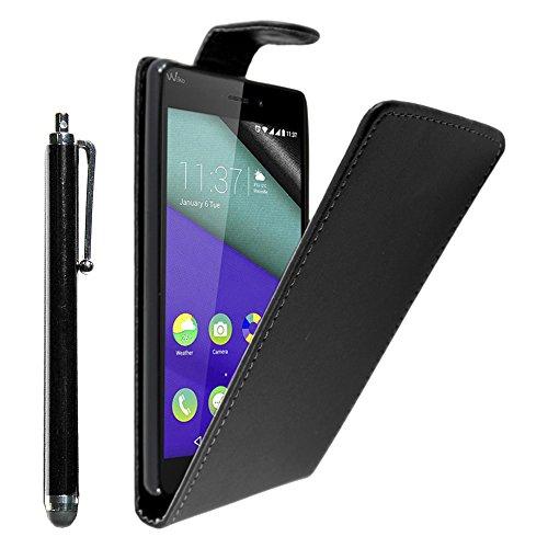 ebestStar - kompatibel mit Wiko Pulp Fab 4G Hülle Etui mit Klappe, PU Kunstleder Handyhülle Schutzhülle Case Cover + Stift, Schwarz [Phone: 155.4 x 79.3 x 8.5mm, 5.5'']
