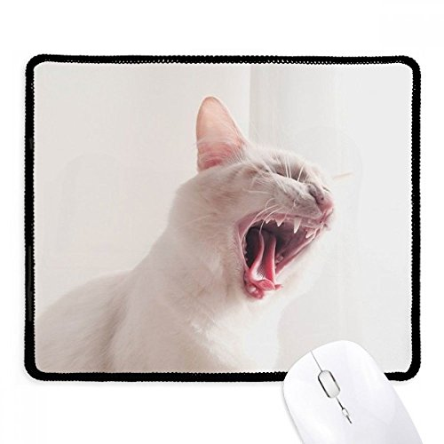 DIYthinker Animal White Fierce Cat foto antislip muismat Game Office zwart Titched Edges Gift