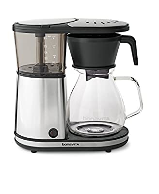 Bonavita BV1901GW 8-Cup One-Touch Coffee Maker Featuring Glass Carafe and Warming Plate, 12.6 x 6.8 x 12.2 inches, chrome