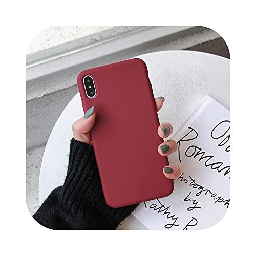 Caramelo caso del teléfono para iPhone11ProMax XR Xs Max 7 8plus 6splus Simple Color Sólido Silicona Suave Para iPhone11 Caso cubierta-Vino rojo-Para iphone8plus