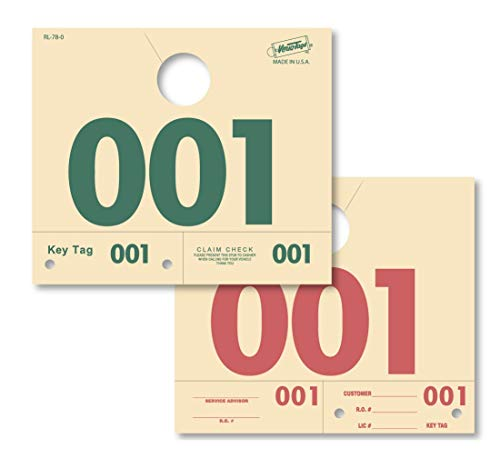 Service Dispatch Numbers - Numbered 0000-0999 - Manilla/Green/Red - RL78 Mirror Hang Tags (Box of 1000)