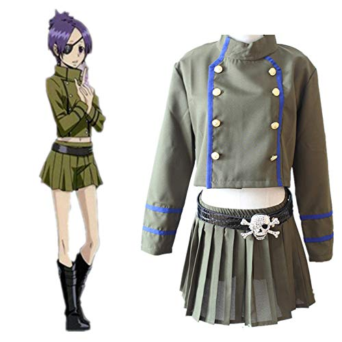 XTD Cosplay Traje Ropa Anime Kurōmu Dokuro Uniforme Falda Adulto Mujer Halloween Ropa De Navidad Conjunto Anime Traje Hembra (Top + Falda) S