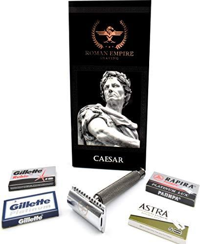 Roman Empire Shaving® Rasierhobel Caesar Rotguss - Eleganter Safety Razor für Damen & Herren - Nassrasierer Set inkl. 20 Rasierklingen von Astra, Platinum, Rubie, Rapira Lux - Rasier Set