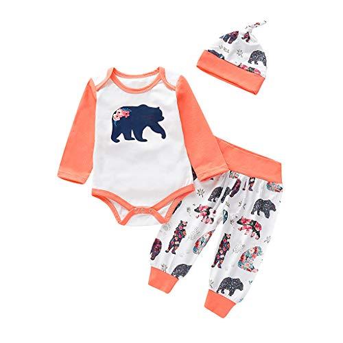 3 PCS Baby Kleidung Set,TTLOVE Kind Kleinkind Infant Mädchen Junge Brief Langarm Strampler + Print Hosen+ Hairband/Hut Outfits Set für 0-24 Monate (Weiß,70 cm)