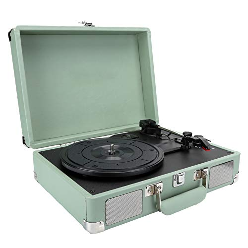 Giradischi valigia Bluetooth, fonografo portatile Giradischi retrò LP Giradischi in vinile Lettore musicale Altoparlante stereo integrato, 3 velocità, con jack per cuffie / ingresso Aux(Green-EU)