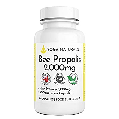 Bee Propolis Capsules 2000mg 90 Vegetarian Capsules 45 Servings 100% Suitable for Vegetarians UK Manufactured from Yoganaturals Bees Propolis Propoli Pure Propolis