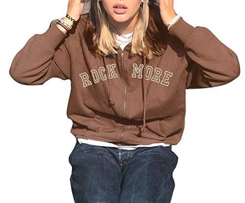 ORANDESIGNE Damen Kapuzenjacke Hoodie Jacke Hip Hop Boyfriend Style Oberteile Basic Sweatjacke Übergangsjacke B Braun XS
