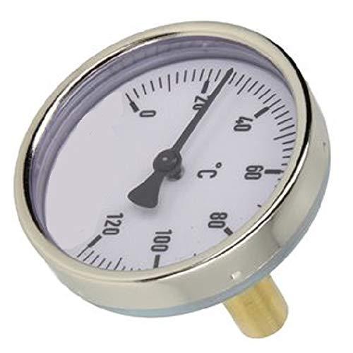 Bimetall-Zeigerthermometer 0-120°C - 45 mm Fühler mit 63 mm Gehäuse - 1/2