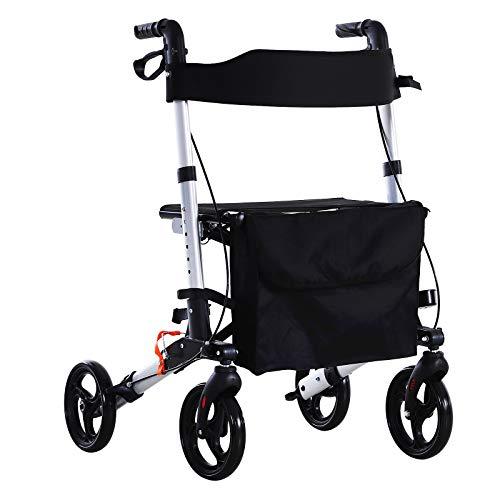HOMCOM Rollator mit Stuhl, Faltbarer Gehwagen, Gehhilfe, Mobilität, mit Tasche, Bremse, 6-stufig verstellbare Griffe, Leichtgewicht, Alulegierung Schwarz 62,5 x 67 x 78,5-91 cm