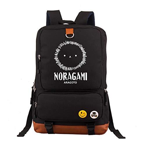 WANHONGYUE Noragami Anime Leuchtend Laptop Rucksack Schultasche Büchertasche Schulrucksack Student Backpack Schwarz