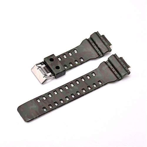 HGGFA Correa de silicona de 16 mm para reloj GA-110 GA-100 GA-120 de goma de camuflaje impermeable para hombre (color de la correa: camuflaje 1, ancho de la correa: 16 mm)