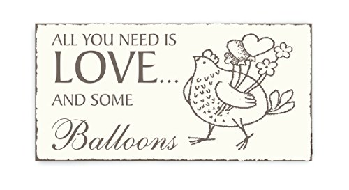 SCHILD Dekoschild « All you need is LOVE and some BALLOONS » kip met ballonnen vintage houten bord deurplaat