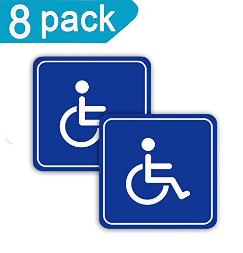 Disabled Wheelchair Symbols Decal Labels 8 Pack 3 inch Handicap Stickers Self Adhesive Decal-UV Protected Weatherproof