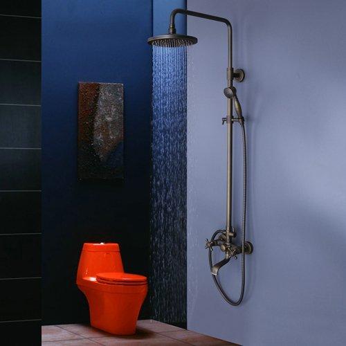 Hiendure ottone antico Vasca doccia rubinetto con 8 pollici Soffione doccia  + Doccia a mano