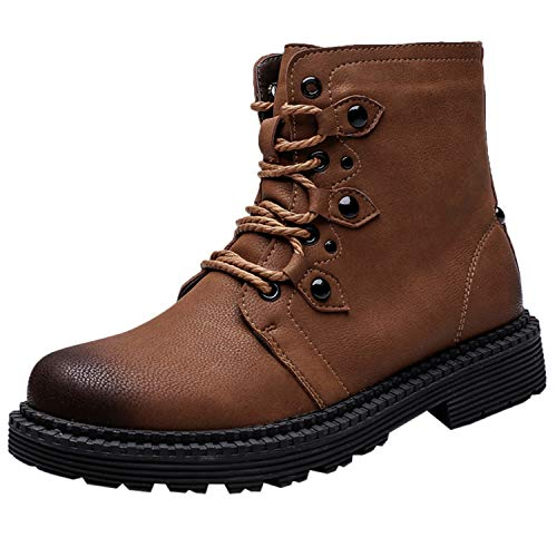 Men's Boot Casual Retro Flat Low-Heeled Round Head Tooling Shoe Non-Slip Lace-UP Short Boots Winter,B,8.5