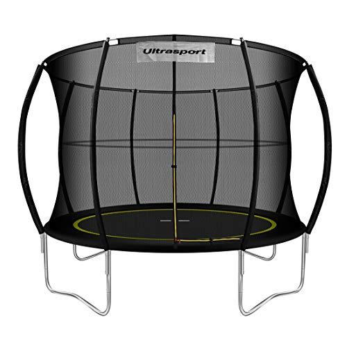 Ultrasport Garten Trampolin mit 305 cm Durchmesser, mit Elastik-Seilsystem statt Sprungfedern, kein...
