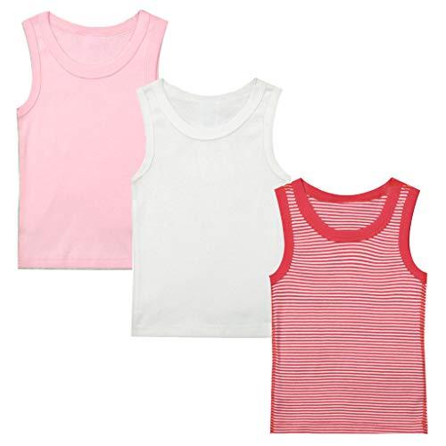 Minizone Kinder Unterhemden 3er Pack Jungen Mädchen T-Shirt Ärmellos Tops Baumwolle Babykleidung 2-3 Jahre