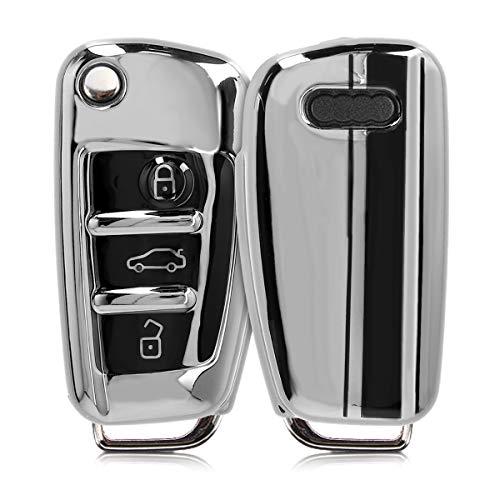 kwmobile Cover Copri-Chiave Compatibile con Audi con 3 Tasti Pieghevole - Guscio Protettivo Chiavi Auto in Soft TPU - Custodia Protettiva - Strisce Rally Nero/Argento Brillante
