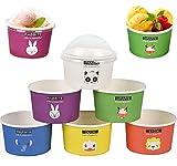 liuer 60PCS Eisbecher Pappe mit Deckel Einweg Eisschalen Pappe Pappschalen Dessertbechers DessertGläser Pappbecher mit Deckel für Buffets...