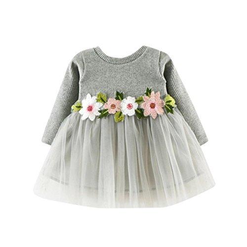 Kobay Niedlich Kleinkind Baby Mädchen Floral Tutu Lange Ärmel Prinzessin Kleid (8 / 1Jahr, Gris)