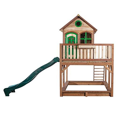 Beauty.Scouts Holzspielhaus Leon II 255x377x291cm, Holz, braun-grün, Rutsche (grün)+Sandkasten Kinderspielhaus Spielhaus Holzhaus Gartenhaus Garten Kinderhaus