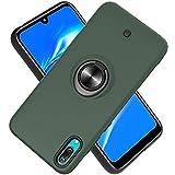 Funda para Huawei Y7 Pro (2019) Soft TPU + Duro PC Doble Parachoques,Giroscopio Rotatorio,Botón de Descompresión, con Soporte de Anillo Funda Protectora Serie -Verde Oscuro