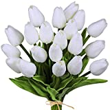 20 Pcs Artificial Tulip Flowers Real Touch PU Tulips Faux Tulip Stems in Pure White for Easter Spring Wreath Wedding Bouquets Table Centerpieces Floral Arrangement Funeral Grave Decoration 14' Tall