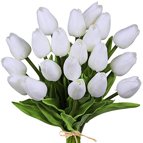 """20 Pcs Artificial Tulip Flowers Real Touch PU Tulips Faux Tulip Stems in Pure White for Easter Spring Wreath Wedding Bouquets Table Centerpieces Floral Arrangement Funeral Grave Decoration 14"""" Tall"""