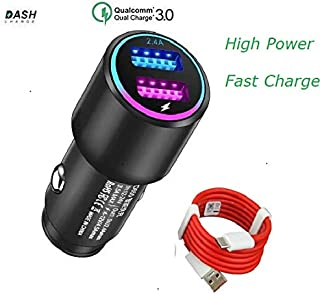 Dash Car Charger for Oneplus 6T/6/5T/5/3T/3, Dual USB Charging Rapidly Car Charger with OnePlus Dash Charge USB Data Cable for One Plus 3 / 3T / 5 / 5T / 6 / 6T (Black)