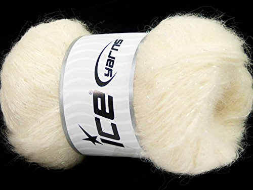 Lot of 6 Skeins Ice Yarns KID MOHAIR PEARL (50% Kid Mohair) Yarn Light Cream