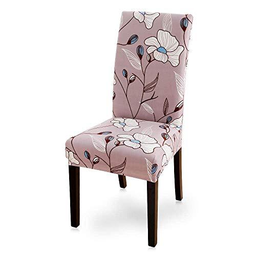 Stuhlbezug Pink Stretch Dining Chair Covers Stuhlbezug mit hoher Rückenlehne, Abnehmbarer waschbarer Druckstoff Stuhlbezug für Esszimmer, Hotel, Bankett (weiße Blumen, 6er Pack)