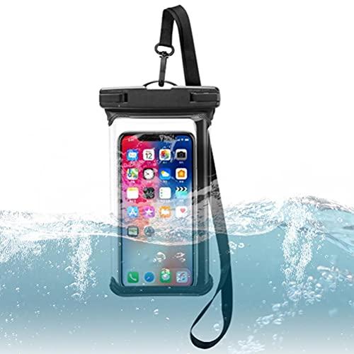 Funda impermeable para teléfono móvil de hasta 6,5 pulgadas, doble sellado, color negro