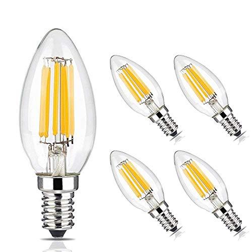 Brimax E14 Dimmbare/einstellbare Kerzenlampe 6W, äquivalent 60W, 2700K warmweiße LED C35 Kronleuchterlampen, Retro Kandelaber-Glühlampe, 5er-Set, Kronleuchter-Ersatz, Schreibtischlampe