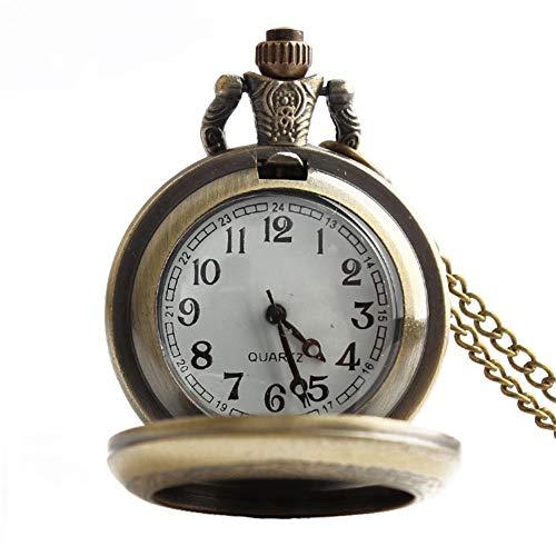 SMEJS Vintage reloj de bolsillo número árabe movimiento de cuarzo Clamshell Simple aleación collar relojes regalo para hombres mujeres
