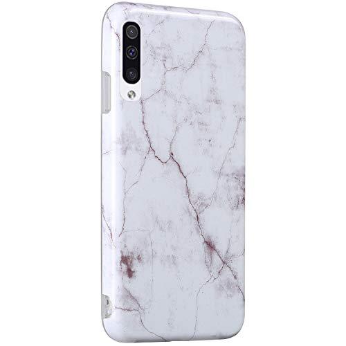Surakey Cover Compatibile con Samsung Galaxy A50 Custodia Silicone Morbido Dipinto Modello Marmo Case con Flessibile TPU Bumper Moda Ultra Slim Soft Touch Cover per Samsung Galaxy A50,Bianco