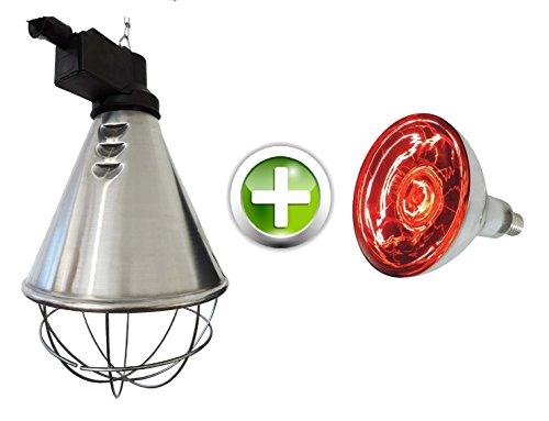 EIDER Infrarot Wärmestrahlgerät PROFI inkl. Leuchtmittel ( Birne 150W bereits enthalten ) - Wärmelampe für Tiere