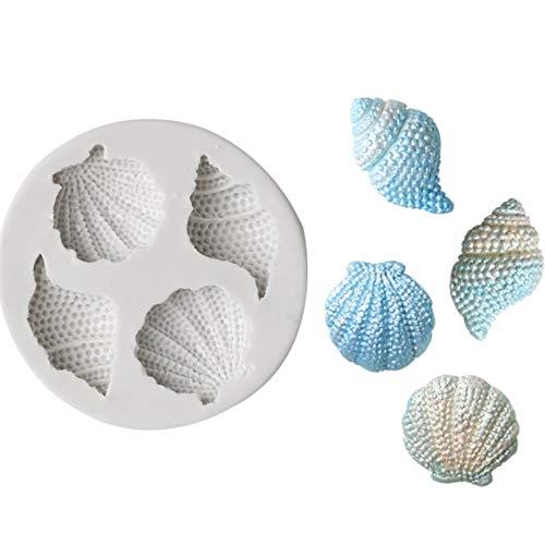 Molde de concha de concha de silicona molde de la torta del océano serie DIY chocolate caramelo herramientas de hornear