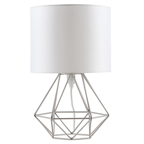 MiniSun Lampe à Poser, Lampe de Table 'Angus' Aspect Rétro. Pied - Panier Géométrique en Nickel Brossé & Abat-Jour Tambour en Tissu Blanche