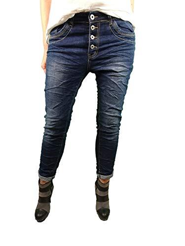Karostar by Lexxury Denim Stretch Baggy-Boyfriend-Jeans Boyfriend 4 Knöpfe offene Knopfleiste weitere Farben Dark Denim 2XL-44
