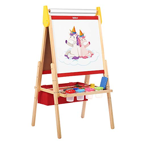 Belleur Kids' Easel with Paper Roll, Standing Easel with Magnetic Dual-Sided Chalkboard & Whiteboard, Three Adjustable Heights for 3-7 Years Old, Magnetic Letters, Chalks, Paint Pots for Toddlers-Red