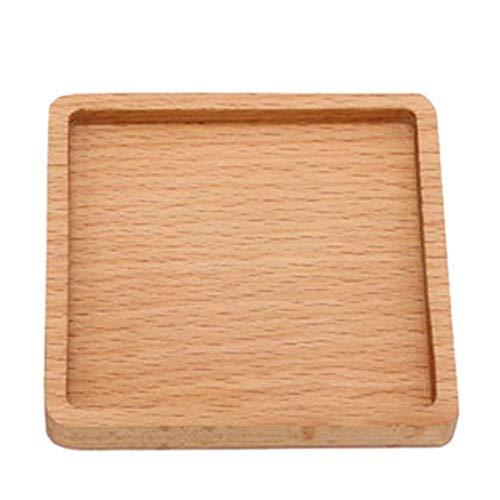Home Essentials - Sottobicchiere in legno con compressore quadrato, scanalatura quadrata, compressore rotondo Quadratische Nut -