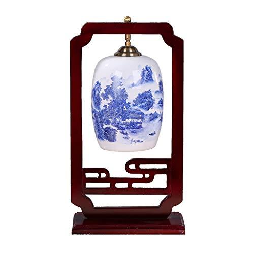 YIXIN2013SHOP Lámpara de Cabecera Dormitorio de cerámica de Noche Estudio de Estilo Chino Sala Zen Lámpara de Mesa clásica de Madera Maciza de LED LLámpara de Noche